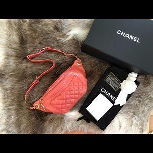 💯Auth CHANEL 18S Glazed Calfskin Waist Fanny Pack